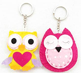 innodept12 Sewing Kit Patchwork Owl: Felt and Fabric Stitch DIY Projects Hanging Keychain (Own Set of 2)