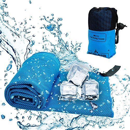 Acelane Toalla Fría Instantánea con Bolsa de Transpote para Deportes al Aire Libre Viajes Camping Gimnasio Yoga o Atletas para Horas de Alivio 102 x 30,5 cm (Azul, 102 x 30,5 cm)