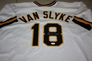 Pittsburgh Pirates Andy Van Slyke #18 Autographed Signed Custom White Jersey JSA Cert