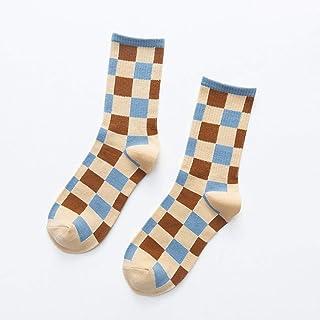 POYANG, 5 Pares de Calcetines para niños de Moda a Cuadros de otoño e Invierno Calcetines de algodón Calcetines Deportivos de Calle Que fluyen Crema