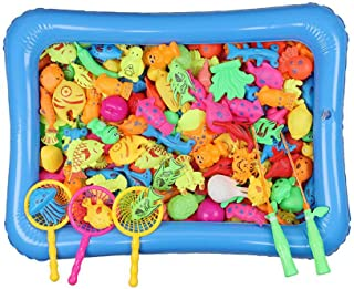 SAPU 46Pcs Kids Pool Fishing Toys Games - Summer Magnetic Floating Toy Magnet Pole Rod Fish Net Water Table Bathtub Bath G...
