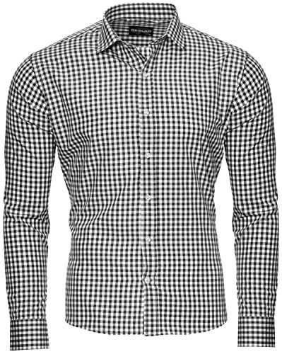Reslad Kariertes Hemd Männer Herren Karohemd Schwarze Hemden Bügelfreies Freizeithemd Slim Fit Ober Hemd RS-7007 Schwarz S