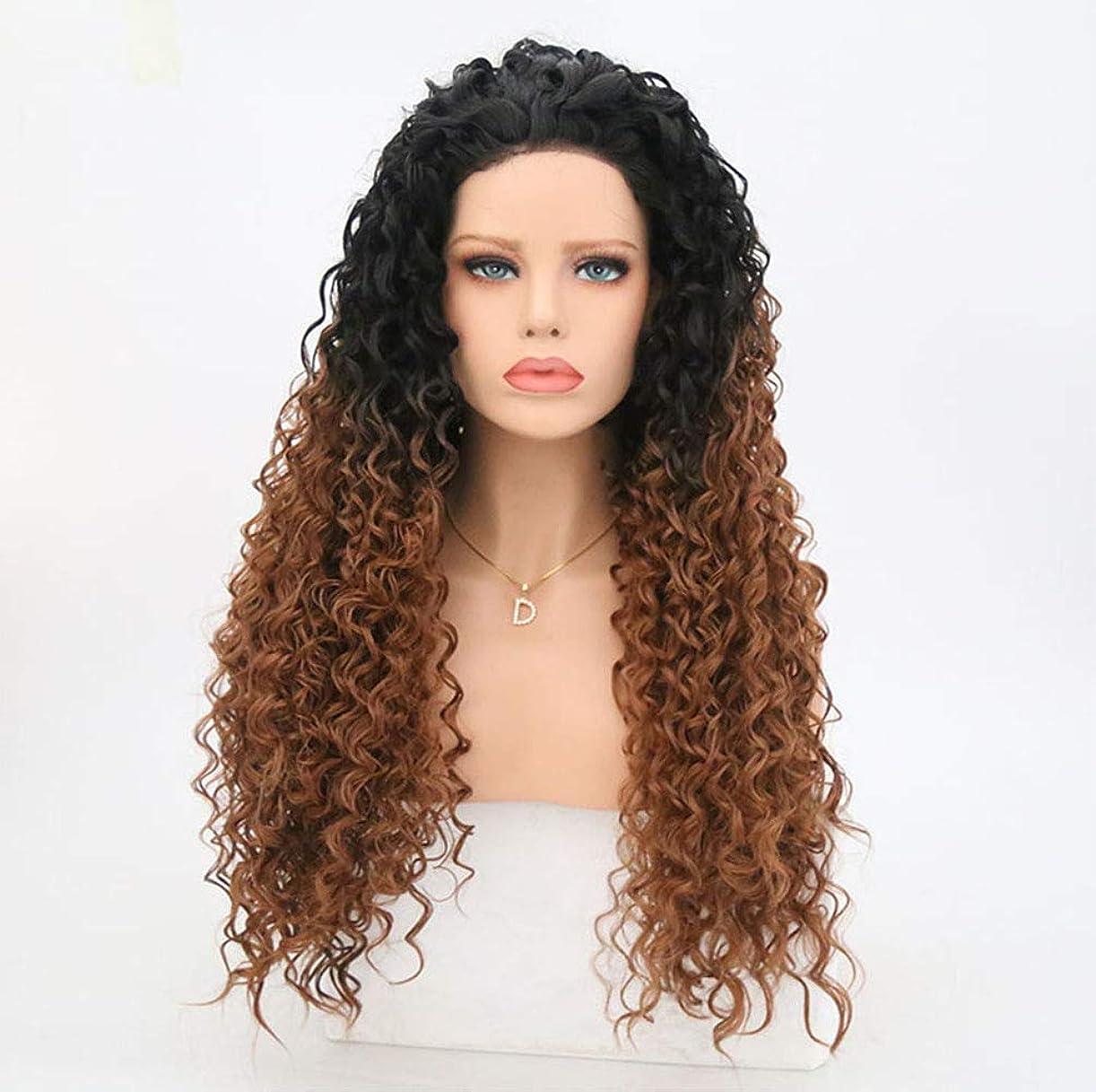 ケープ保安潤滑するかつら女性130%密度合成ロングヘアかつら自然な波カーリーレースフロントかつらで赤ん坊の毛