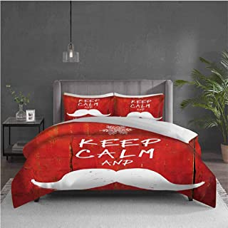 GUUVOR Christmas Pure Bedding Hotel Luxury Bed Linen Keep Calm and Ho-Ho-Ho Words with Moustache and Snowflake Humor Funny Design Polyester - Soft and Breathable (Twin) Vermilion White