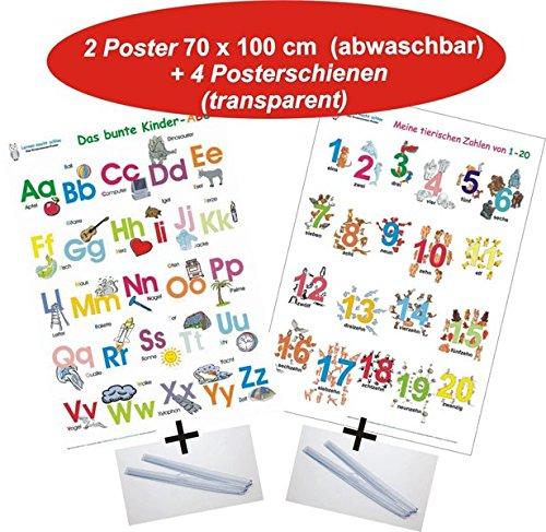 Das bunte Kinder-ABC + Meine tierischen Zahlen von 1-20 + Posterschienen: 2 Lernposter 70 x 100 cm, gerollt, abwaschbar + UV-Lack beschichtet + 4 ... + UV-Lack beschichtet + 4 Posterschienen
