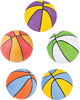 Kicko Assorted Colors Mini Basketball - 5 Pack, 5 Inch Miniature-Sized Playground Ball - Perfect for Fun Outdoor Play, Spo...