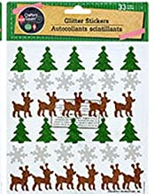 Christmas Glitter Stickers~ Trees Reindeer Snowflakes Snowman Red Ribbon