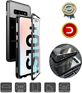 Magnetic Adsorption Case Fit for Samsung Galaxy S10+Plus, Double-Side Glass Full Screen Protection,Sensitive Fingerprint Unlocking,Metal Frame Clear Tempered Glass Case for Galaxy S10+Plus,Blue Black