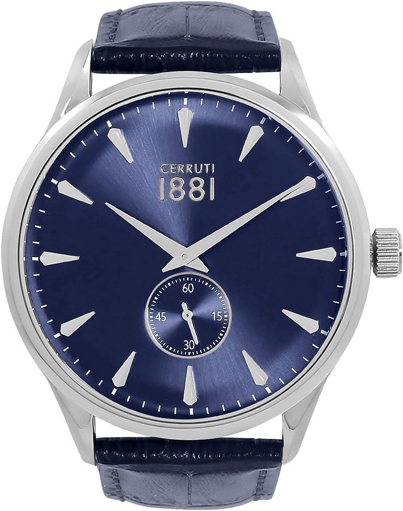 Cerruti 1881,orologio per uomo,in acciaio inossidabile e cinturino in pelle CRA24004