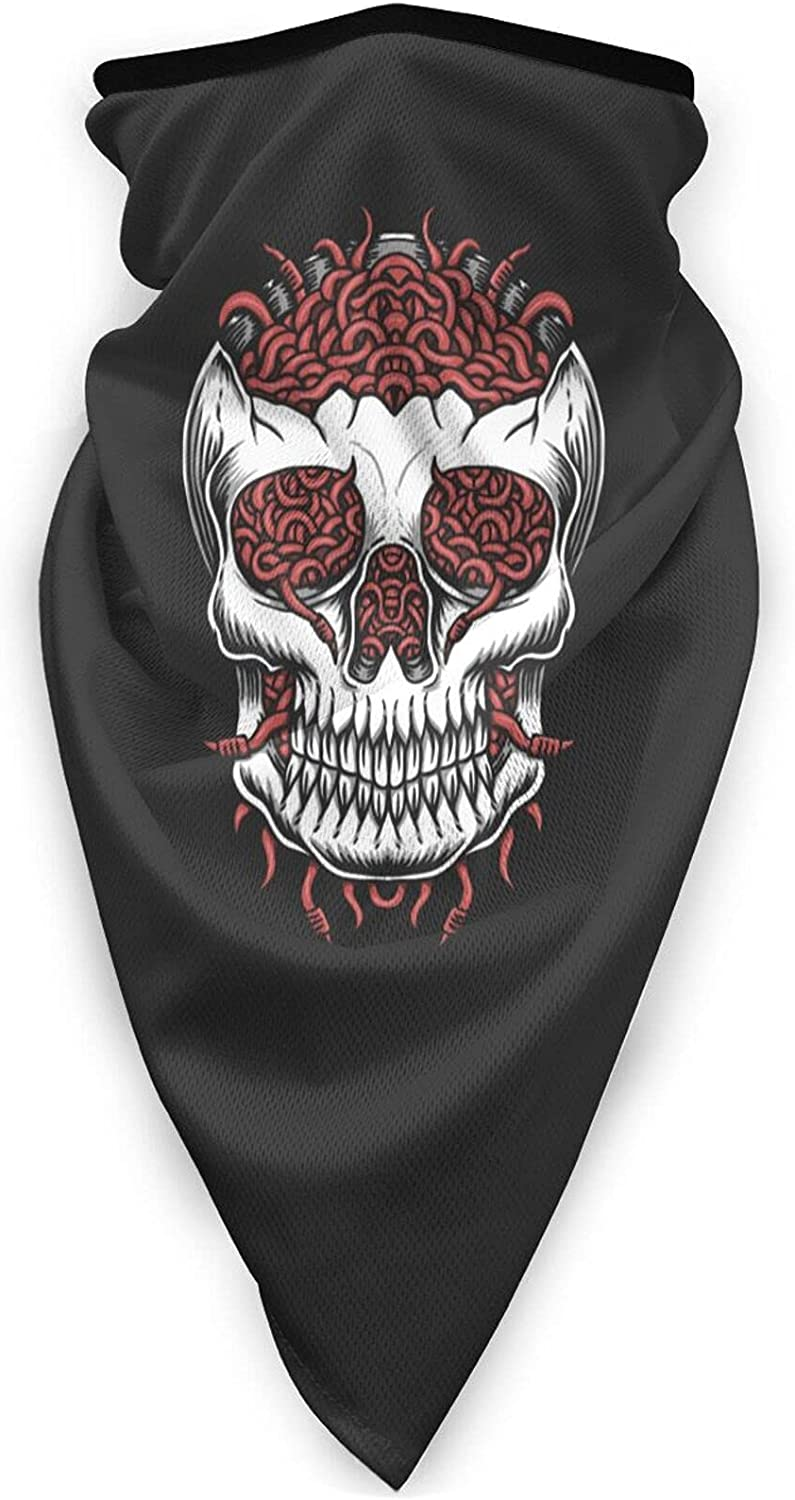 Skull Head Worm Neck Gaiter Bandnas Face Cover Uv Protection Prevent bask in Ice Triangle Scarf Headbands Perfect for Motorcycle Cycling Running Festival Raves Outdoors Black