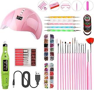 UV LED Nail Lamp Nail Art Set Kit, Portable Nail Dryer Manicure/Pedicure Curing Lamp with Beauty Accessories Nail Art Set ...