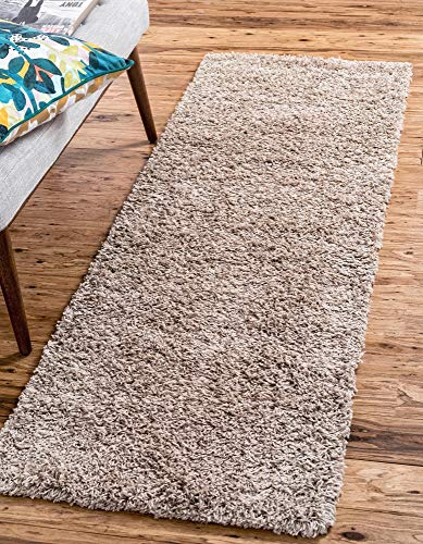 Unique Loom Solo Solid Shag Collection Modern Plush Taupe Runner Rug (2' 6 x 10' 0)