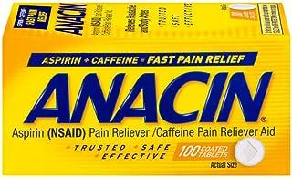 Anacin Aspirin (NSAID) caffeine pain reliever aid 100 count