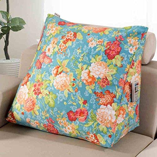 uus Coussin de coussin de canapé triangle de motif de fleurs Coussin de coussin de chaise ergonomique Coussin de design ergonomique ( Couleur : Vert , taille : M )