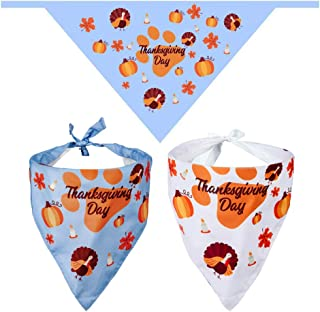 TRAVEL BUS Thanksgiving Dog Bandana - 2 Pack Triangle Bandanas Bibs Scarf Accessories for Small Medium Large Dogs Cats Pets