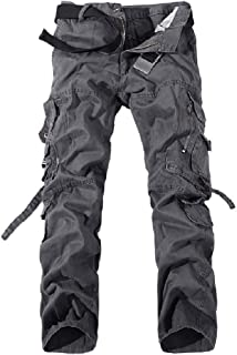 Howely Men's Stylish Washed Loose Fit Pockets Military Straight Cargo Pants