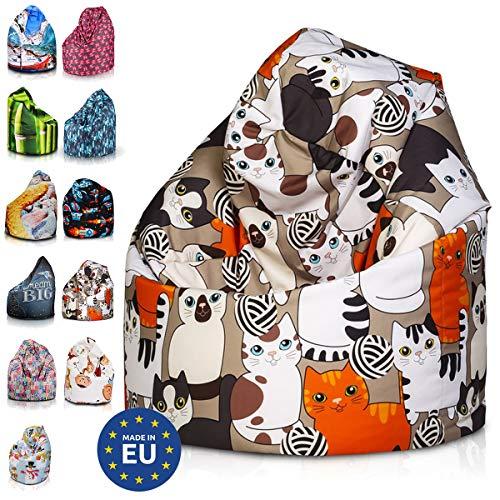 Ecopuf Modern Sitzsack L - Outdoor und Indoor Beanbag aus Polyester mit Anti-Verlust Reißverschluss