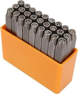 27pcs jeu de tampons en lettre, 3 mm en acier au carbone dans un étui en bois outil de presse de poinçonnage pour l'impres...