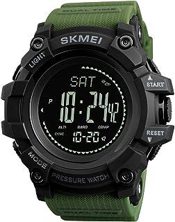 Montre boussole, altimètre, baromètre, thermomètre, podomètre, montre militaire étanche, montre numérique pour homme