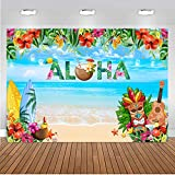 Sensfun 7x5ft Summer Aloha Luau Party Backdrop for Tropical Hawaiian Beach Tiki Flower Photography Background Baby Shower Birthday Musical Party Backdrop Cake Table Banner Photo Booth