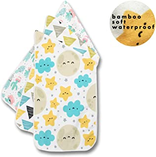 Rebirthfox Bamboo Thicker Baby Waterproof Changing Pad Liners Cute Pattern Soft Short Plush Bassinet Pad Liner(3 Count)