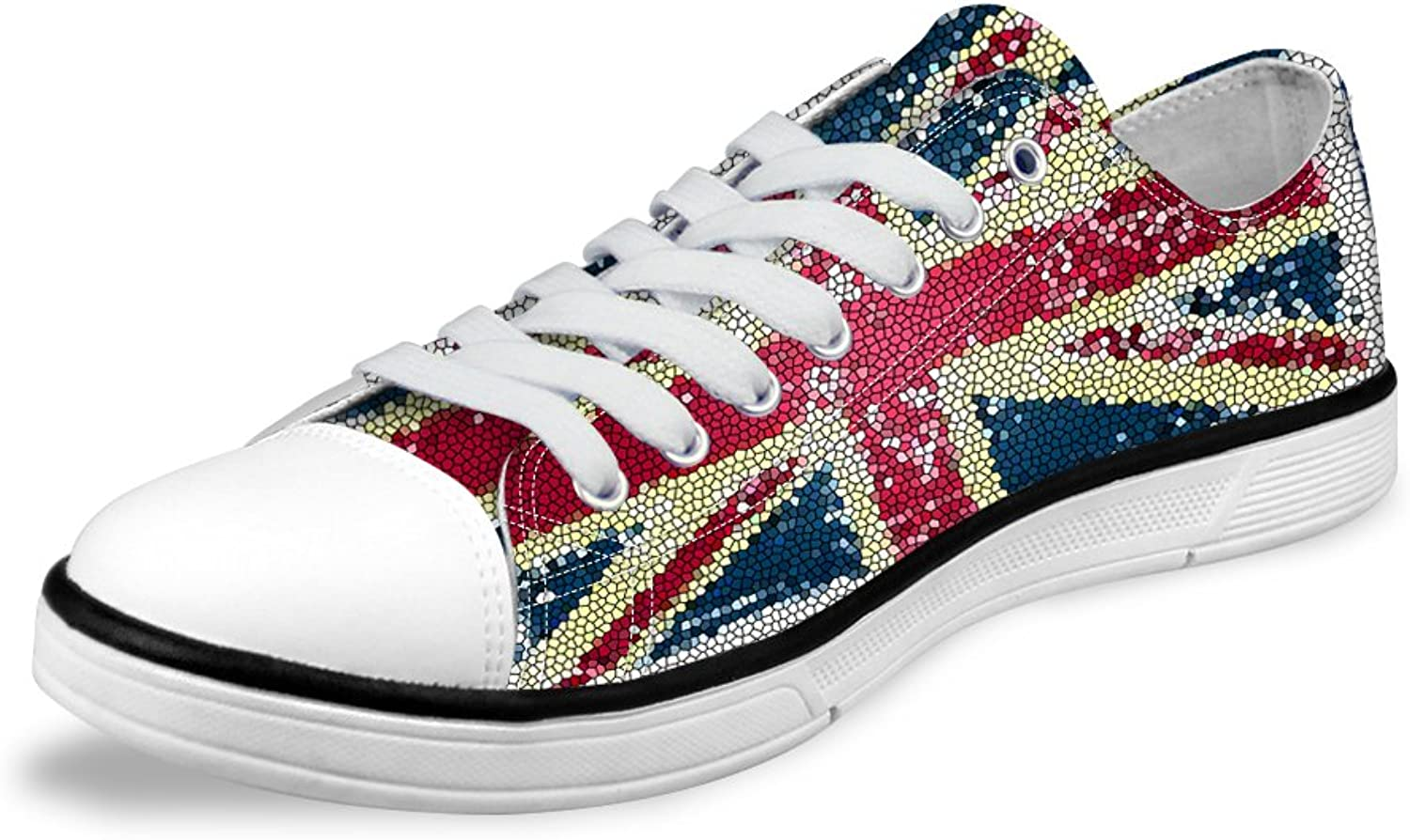 Canvas Lace-up Low Top shoes for Women Men with Fashion American Flag Pattern