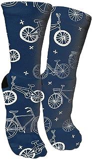 WlyFK, Calcetines de algodón con diseño a mano, color azul marino, para niños y bicicletas, para hombre y mujer