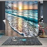 Chickwin Duschvorhang Anti-Schimmel und Wasserdicht, 3D Meer Strand & Ozeanwellen Drucken Duschvorhang mit 12 Duschvorhangringe für Badezimmer (180x200cm,A)