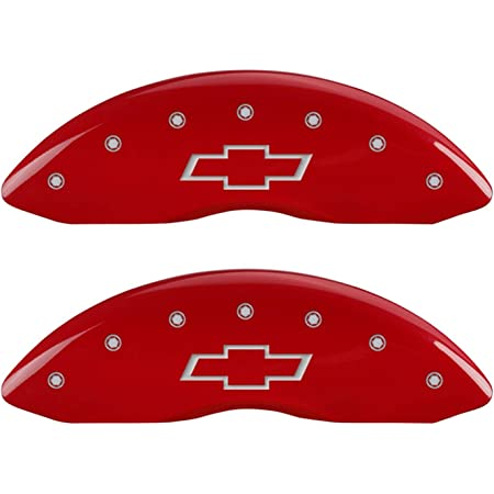 Set of 4 MGP Caliper Covers 15212SWCCRD Red Powder Coat Finish Engraved Front//Rear West Coast Customs Baseball Logo Caliper Cover,