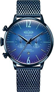 WELDER - WWRC414 Welder Moody - Reloj para Hombre en Acero con Acabado IP Azul, con crono y Calendario. Armys Tipo Malla.