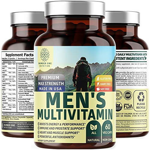 N1N Daily Multivitamin for Men, Premium Multimineral Supplement - Vitamins A C E D B1 B2 B3 B5 B6 B12. Magnesium, Zinc, Biotin, Spirulina, Antioxidants, All Natural, 60 Veg Caps