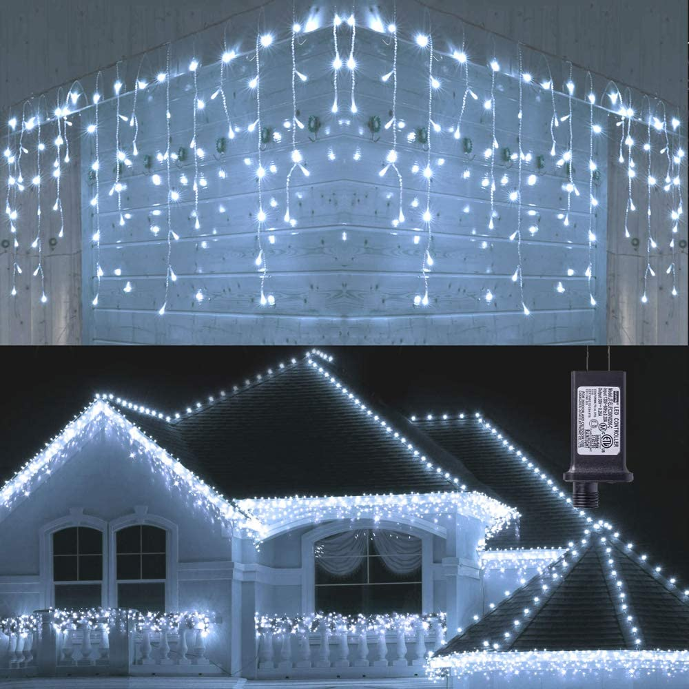 Toodour Free shipping LED Icicle Lights 360 Curt Modes Window 8 Minneapolis Mall 29.5ft