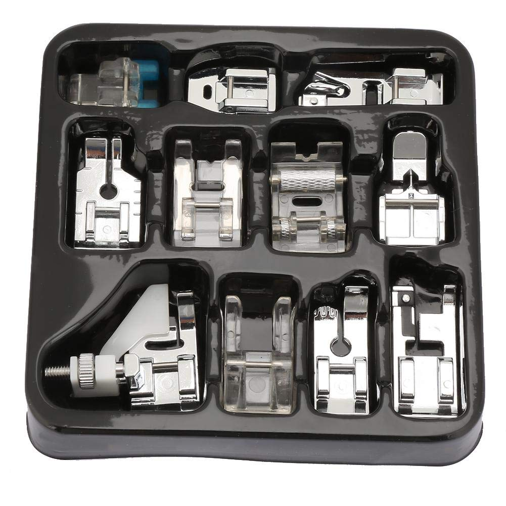 Prensatelas de costura prensatelas, 11 tipos/caja Máquina de coser multifuncional de hierro Prensatelas Prensatelas ...
