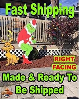 Grinch Stealing Christmas Lights & Max The Dog Right Facing Grinch Yard Art FAST SHIPPING