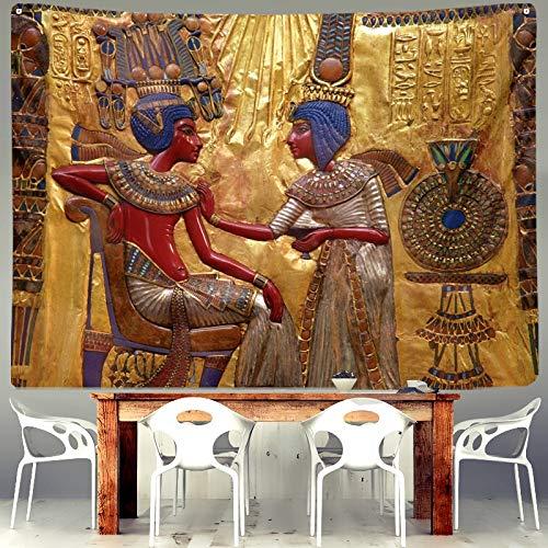 KHKJ Egipto Fresco Ian Tapiz Espiritual pirámide faraón Retro para Dormitorio casa Sala de Estar decoración Colgante Arte Pared Tela A12 200x180cm