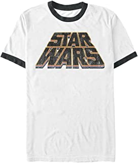 Star Wars Men's Official 'slanty Logos' Premium Ringer Graphic Tee, White/Black, Medium