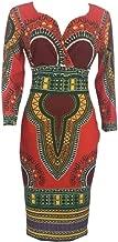 CRYYU Womens Long Sleeve Bodycon African Print Dashiki Stylish Party Midi Dress