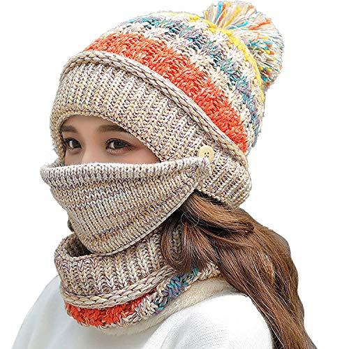 Fleece Lined Winter Hats for Women Knit Beanie Hat Scarf Mask Set Warm Soft Slouchy Skull Cap with Pom Pom… Beige