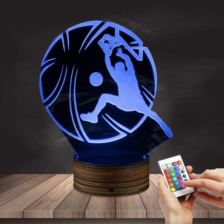 LIX-XYD Umgebungslicht, HD LED Nachtlicht Basketball hinter Dunk USB3D optische Tuschungslampe für Sportliebhaber Geschenk (Basketballspieler Slam Dunk) Stimmungslicht