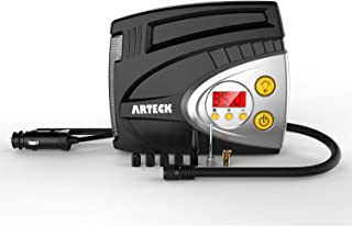 Tire Inflator, Arteck Portable 12V DC Tire Air Compressor Pump 150 PSI, Portable Digital Auto Tire Inflator with Gauge for Car, Bicycle, Motorcycle, Basketball and Others