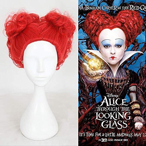 Halloween Alicia En El País De Las Maravillas Red Queen Peluca Juego De Roles Reina De Corazones Disfraz Pelo Rojo + Gorra De Peluca
