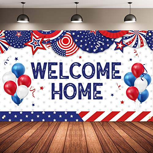 Patriotic Party Decorations, Fabric Welcome Home Photography Backdrop Stars and Stripes Sign Banner for Patriotic Theme Deployment Returning Back Military Army Party Decorations, 72.8 x 43.3 Inch