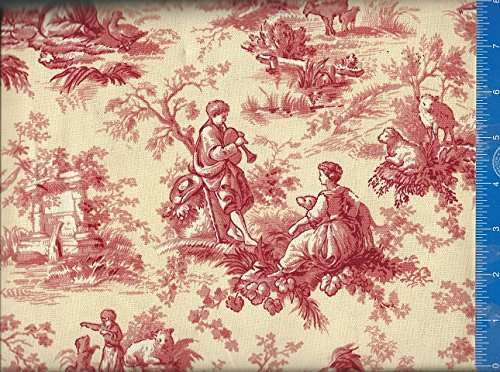 Window Curtain Valance Inspiration Toile Screen Color Antique Fabric, Handmade