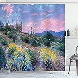 Tenda da doccia cactus,tramonto in montagna con raggi di sole,nuvole,cespugli e fiori colorati,stampa fotografica,set di decorazioni per il bagno in tessuto,verde malva con 12 in plastica 180x180 cm