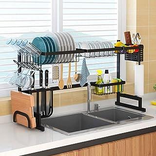 食器乾燥ラック シンク上ディスプレイスタンド 水切り 304ステンレススチール キッチン用品 収納棚 キッチン用品 ストレージラック 85cm (ブラック)