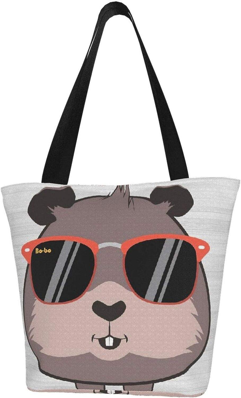 Guinea Pig Cute Art Cool Glasses Themed Printed Women Canvas Handbag Zipper Shoulder Bag Work Booksbag Tote Purse Leisure Hobo Bag For Shopping