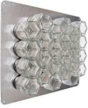 Gneiss Spice DIY Wall Hanging Magnetic Spice Rack (24 Small Jars, Silver Lids, 20x10 Stainless Plate)