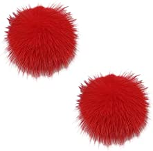 L'VOW Women' Fluffy Mink Fur Pom Removable Shoe Clips Clutch Wedding Decoration Pack of 2
