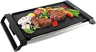 Techwood Raclette Grill Electric Grill Portable BBQ Grill Table Grill Multi-Plate Indoor/Outdoor Grill 1500W Cast Iron Stainless Steel Non-stick Grilling Surface for Party