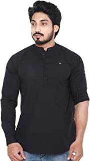 Twist Men's Cotton Linen Chinese Collar Short Kurta Shirt